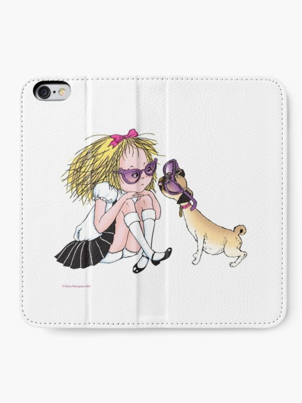 Eloise and Weenie in Sunglasses iPhone Wallet open