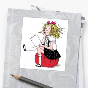 Eloise thinking about what to write Sticker